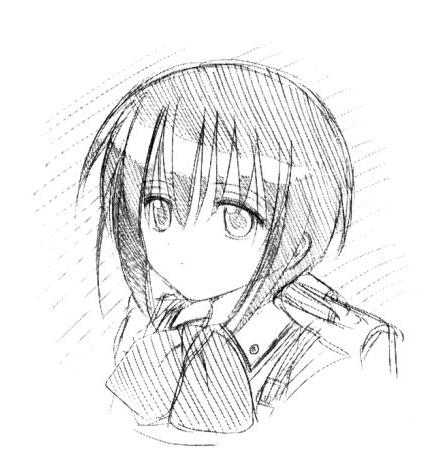 An endpaper sketch of Tamaki by the manga's artist Aguri Igarashi --- more like the anime, less like the artist's own work in the manga