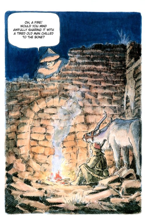 Ashitaka, er Shuna, encounters a strange old man who tells him of gods in the West