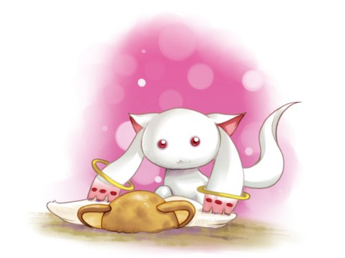 Kyubey making sure there can be only one magical girl mascot character, or just making things easier for Kero in the long run? By miz kow at http://www.pixiv.net/member_illust.php?mode=medium&illust_id=16579814